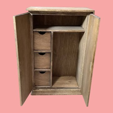 Artist signed miniature handmade cabinet closet with drawers 1980