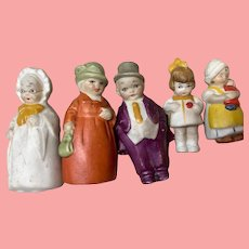 """Set of 6 family German immobile dolls 2"""" to 1& 3/4"""""""