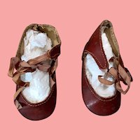 """German Antique Leather Doll Shoes 2&3/4th """" Long"""