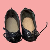 Tiny Pair Of German Doll Shoes