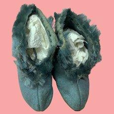 Pair Vintage Wool Felt Blue Baby Shoes