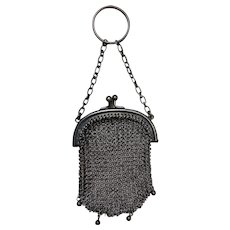 Antique Tiny Silver Finger Ring Mesh Purse
