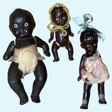 Trio of Japan Bisque Black Babies