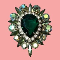 Beautiful large Vintage Pin Green Center Stone Rhinestones