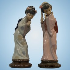 2 Lladro Figurines #4989 Sayonara & #4990 Timid Japanese