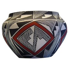 Painted Pottery Bowl by V. Viclorino (Acoma NM Pueblo)