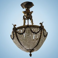 Antique French Doré Bronze & Crystal Fixture
