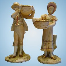 Antique Royal Worcester Boy & Girl Carrying Baskets