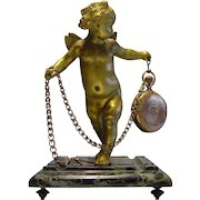 Doré Bronze & Marble Cherub Pocket Watch Holder