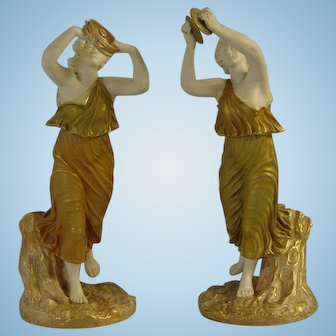 Pair of Royal Worcester Female Bacchante Figures