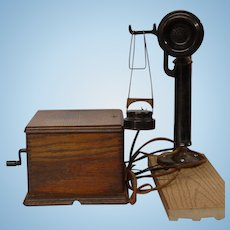 1909-15 Western Electric Railroad Scissor Desk Telephone w/Oak Ringer Box