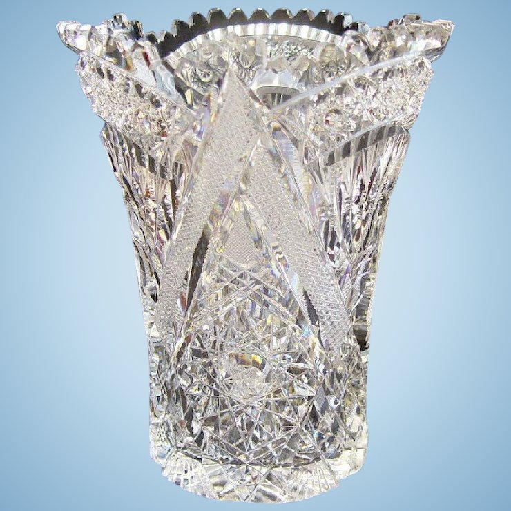 American Brilliant Cut Glass Vase N Levy Collectibles Ruby Lane
