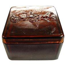 Dobbs Hats Amber Glass Advertising Box