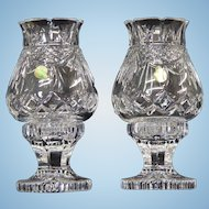 2 Waterford Society Crystal Penrose Hurricane Lamps