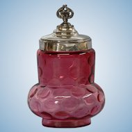 Cranberry Glass Jar with Silver Plate Lid