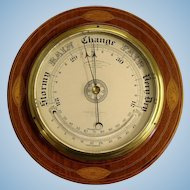 Round Mahogany English Barometer with Thermometer