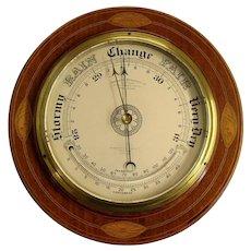 Round Mahogany English Barometer with Thermometer