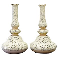 Two Locke & Co Worcester Reticulated Porcelain Vases Circa 1895.
