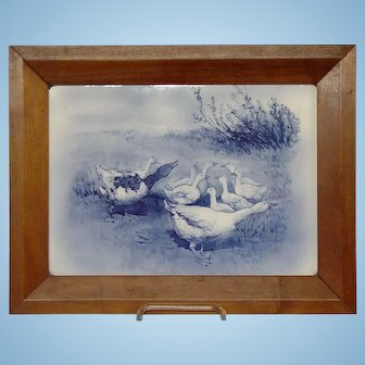 Large Delft Porcelain Plaque With Geese