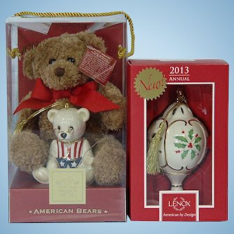 Lenox 100th Anniversary American Teddy Bear and Porcelain Ornament