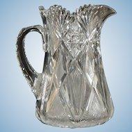 Large American Brilliant Period Cut Glass Pitcher