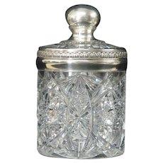 American Brilliant Period Cut Glass Gorham Sterling Tobacco Humidor