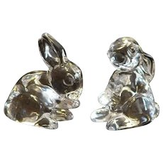 2 Waterford Bunny Collectible Crystal Sculptures