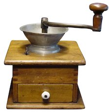 Vintage Early 1900's Wooden Coffee Mill