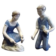 2 Royal Copenhagen Bing & Grondahl Figurines Girl Planting & Boy w/Flowers