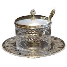 American Brilliant Period Engraved Marmalade Jar w/Sterling Lid & Scoop