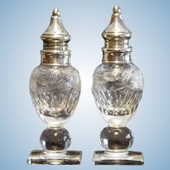 Hawkes Engraved Glass Shakers w/Sterling Tops