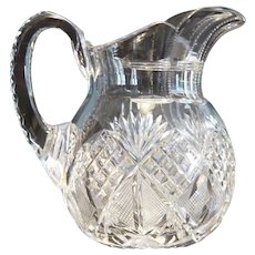 American Brilliant Period Cut Glass Small Milk Pitcher