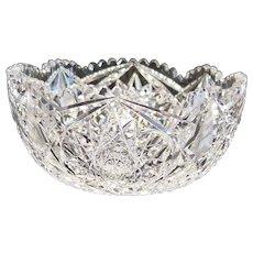 American Brilliant Period Cut Glass 9 inch Round Bowl