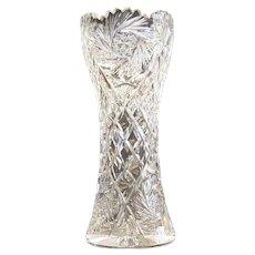 "Large 14"" American Brilliant Period Cut Glass Vase"