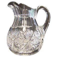 American Brilliant Period Cut Glass Cider Pitcher