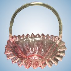 Vintage Fenton Cranberry Glass Ruffled Quilted Diamond Optic Basket