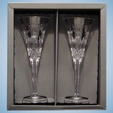 "Pair Of Waterford Crystal ""Prosperity"" Champagne Flutes."