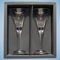 "Pair Of Waterford Crystal ""Health"" Champagne Flutes."