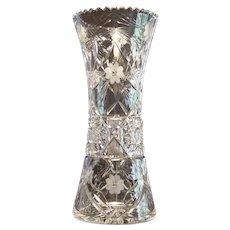 "American Brilliant Period Large 12"" Cut Glass Vase"
