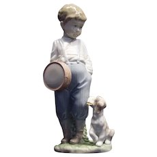 """Lladro #6846 """"Friendly Duet"""" Figurine Young Boy with Drum and Puppy Retired!"""