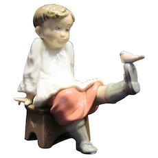 """Lladro #5987 """"Talk To Me"""" Boy with Bird on Toe. Retired"""