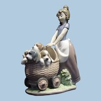 """Lladro 5364 """"Litter of Fun"""" Girl with Puppies Retired!"""
