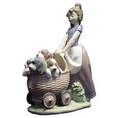 "Lladro 5364 ""Litter of Fun"" Girl with Puppies Retired!"