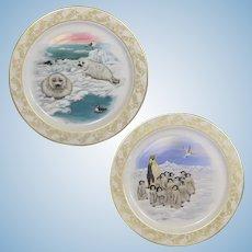2 Lenox Natures Nursery Emperor Penguins & Harp Seals Plates