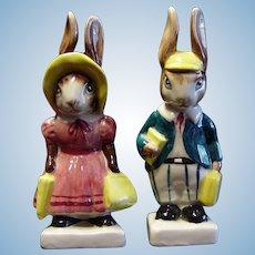 Mr. and Mrs. Rabbit Bunny Figurines