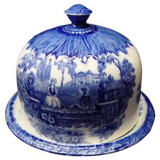 Large Staffordshire Flo Blue Covered Cheese Dish