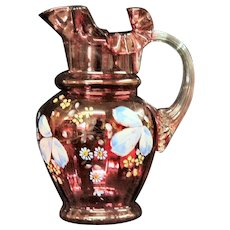 Hand Painted Cranberry Glass Pitcher