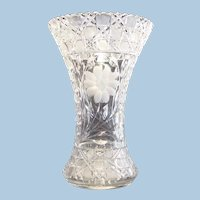 Large American Brilliant Cut Glass and Engraved Vase