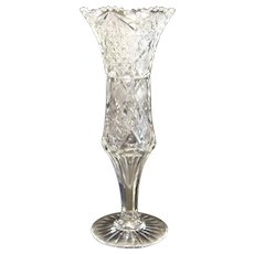 "Outstanding American Brilliant Period 14"" Cut Glass J. Hoare Pedestal Vase"