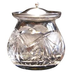 American Brilliant Period Cut Glass Jam Jar